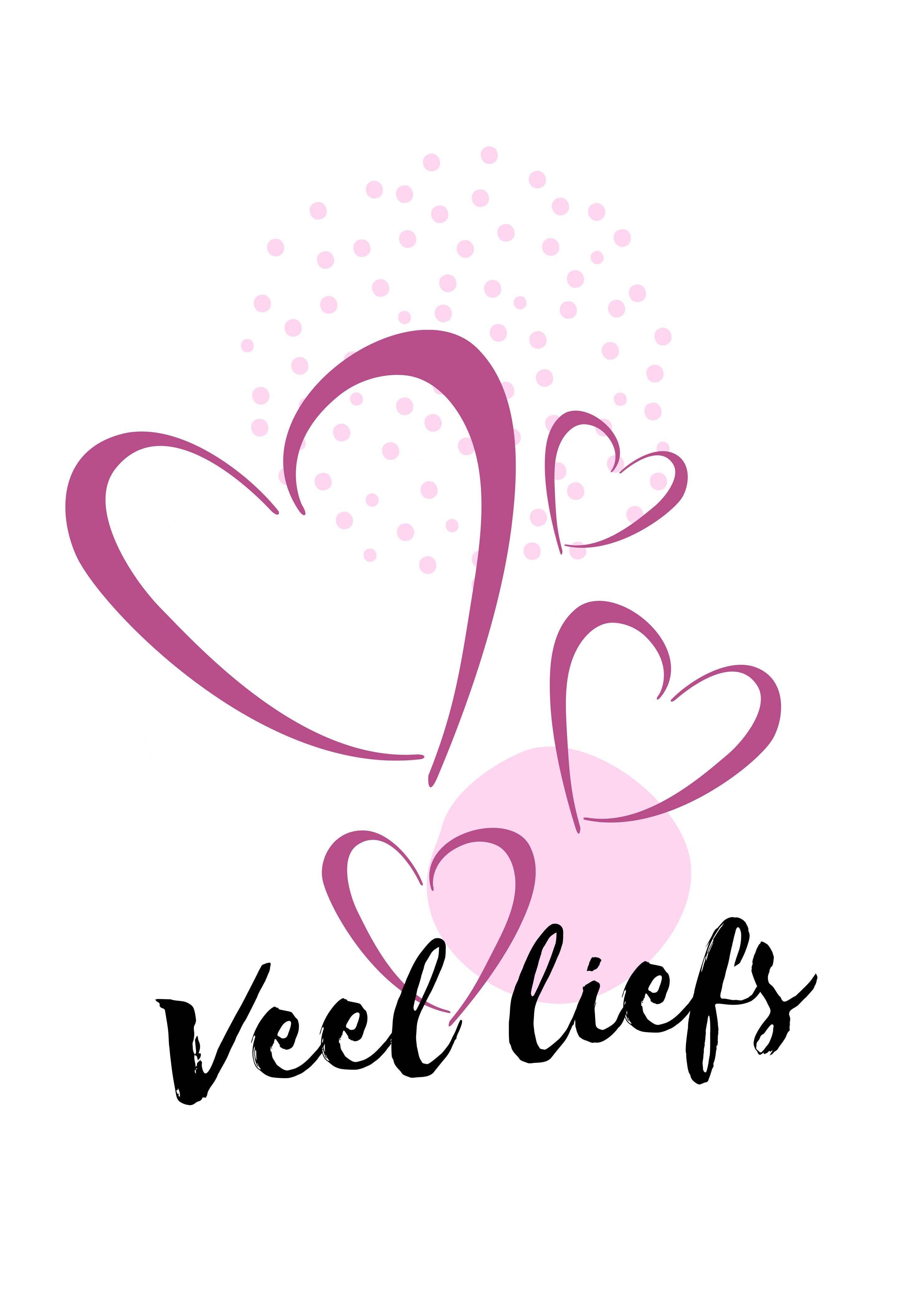 Ansichtkaart Pink Serie Veel Liefs