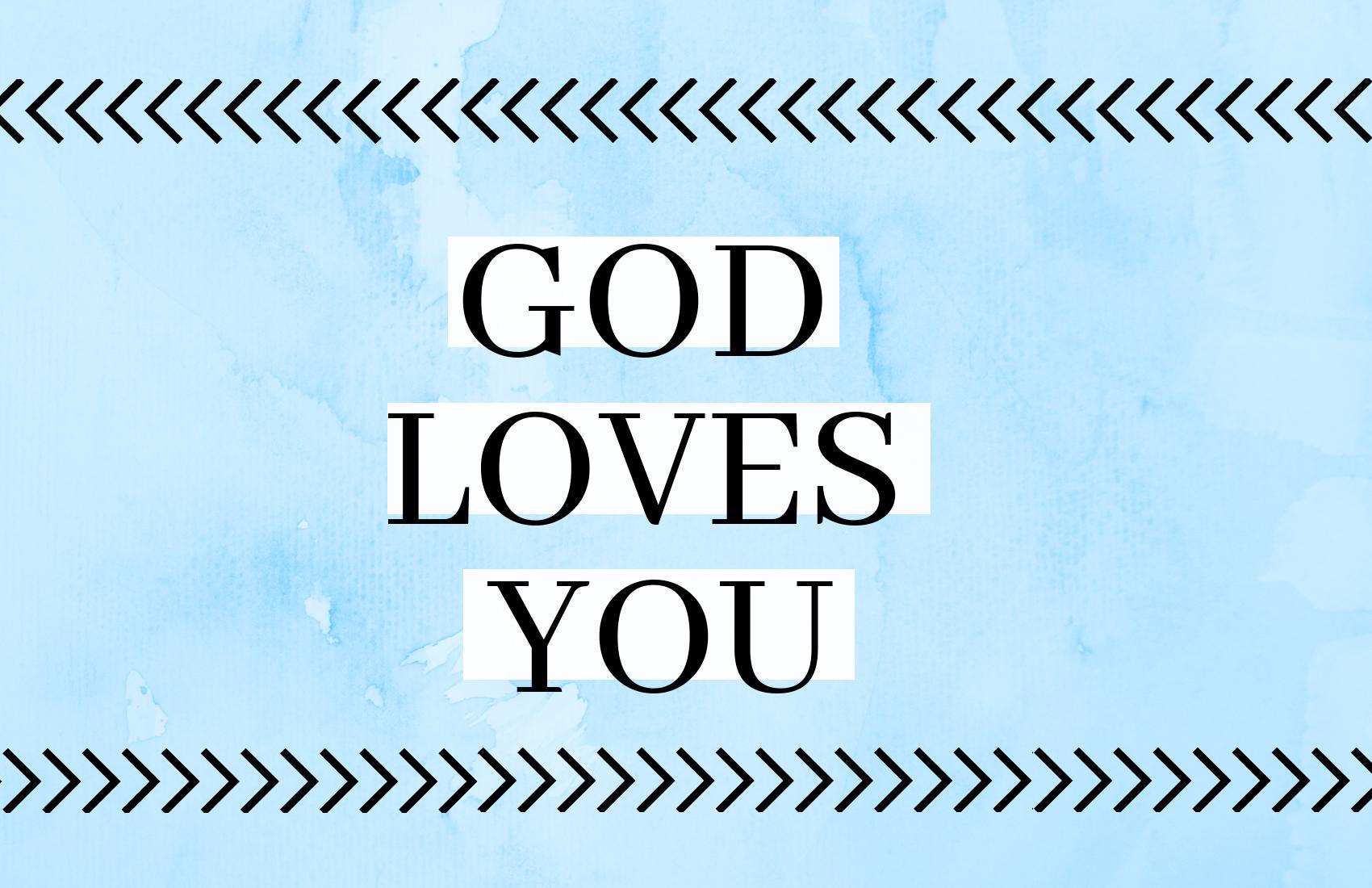 Kaartje 03 Blauw God Loves You 10stuks